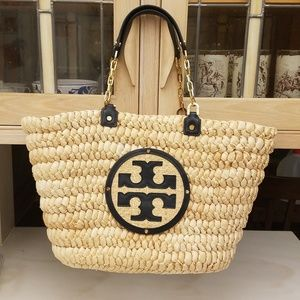 AUTHENTIC TORY BURCH AUDREY STRAW TOTE